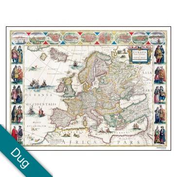 Europa år 1645 Voksdug