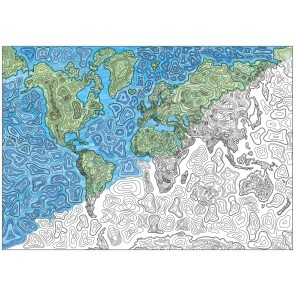 World Map - Abstract Contours
