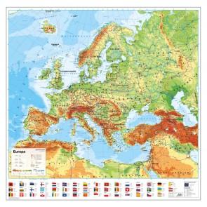 Europa med flag - skriveunderlag