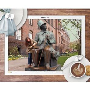 H.C. Andersen statue ved Københavns Rådhus Dækkeserviet
