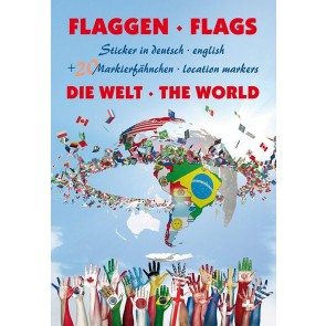 Sticker Flags - The World (incl. 20 marking Pins)