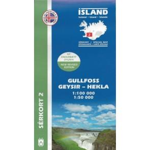 Gullfoss, Geysir, Hekla - Serkort