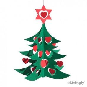 Juletræ m. Hjerter, 18 cm grøn/rød