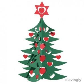Juletræ m. hjerter, 27 cm grøn/rød