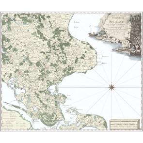 Sjælland med Møn anno 1770 - efterkoloreret