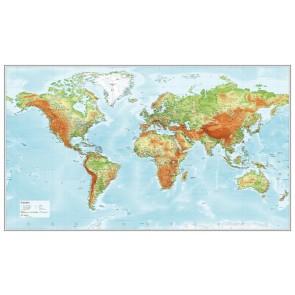 Verden relief på slidstærk dug med plakatskinner