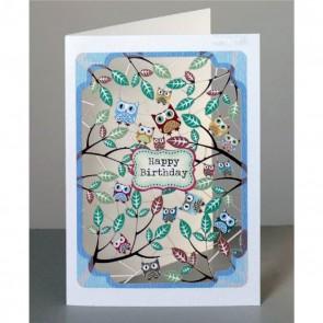 Happy Birthday - ugler og blade -  dobbelt kort med kuvert