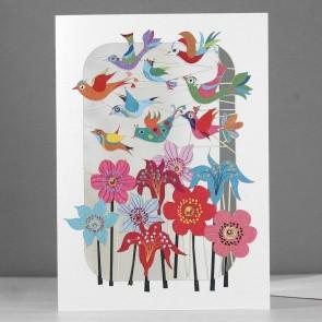 Fugleflok og blomster - dobbelt kort med kuvert