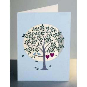 Hjerter i træ  -  dobbelt kort med kuvert