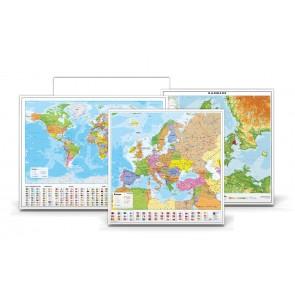 Klassesæt Politisk : Danmark - Europa - Verden - Filmlærred (Loftmontering)