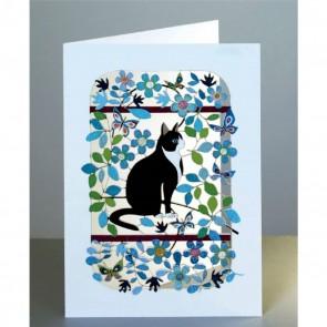 Sort hvid kat - dobbelt kort med kuvert