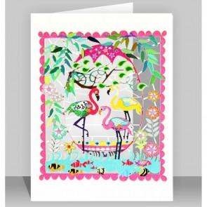 Tre flamingper -  dobbelt kort med kuvert