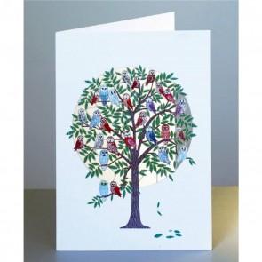 Træ fyldt med ugler -  dobbelt kort med kuvert