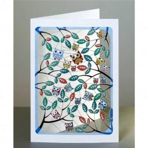 Ugler mellem bladene -  dobbelt kort med kuvert