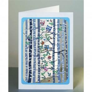 Birketræer og ugler -  dobbelt kort med kuvert