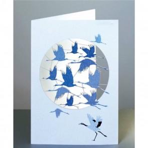 Flyvende traner -  dobbelt kort med kuvert