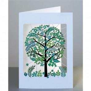 Grønt træ -  dobbelt kort med kuvert