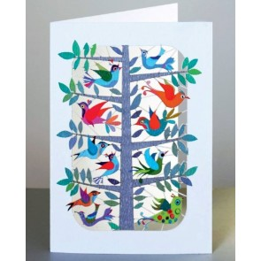 Træ fyldt med fugle -  dobbelt kort med kuvert