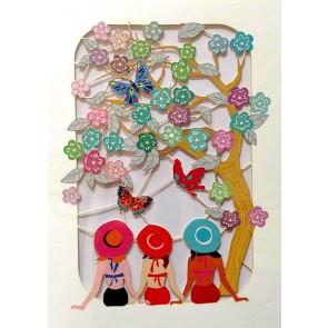 Tre damer og sommerfugle -  dobbelt kort med kuvert