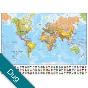 Verden politisk m/flag Voksdug