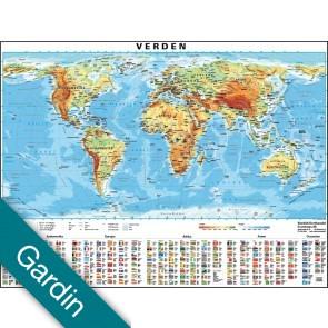 Verden med flag Gardin