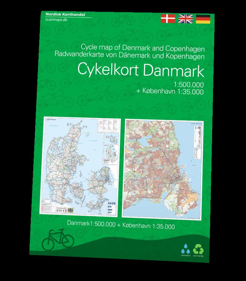 Cykelkort over Danmark i 1:500.000 og København i 1:35.000