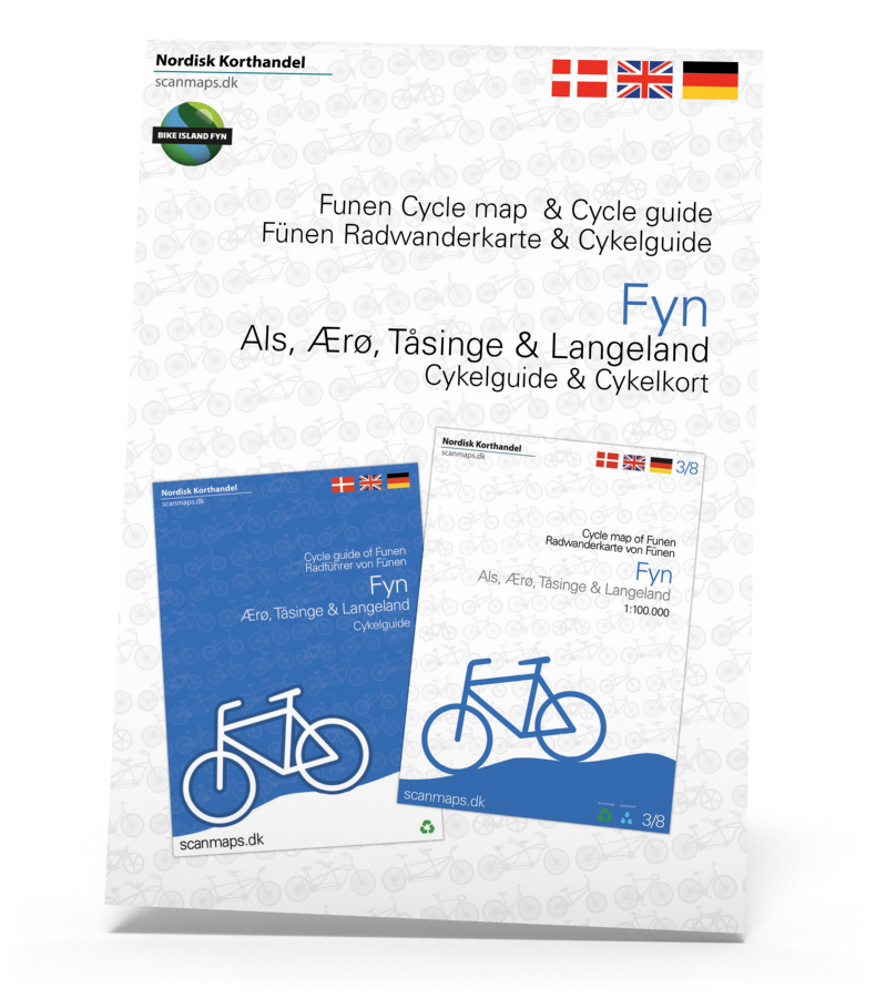 Fyn, Ærø, Tåsinge og Langeland sampak med cykelkort og guide i ét