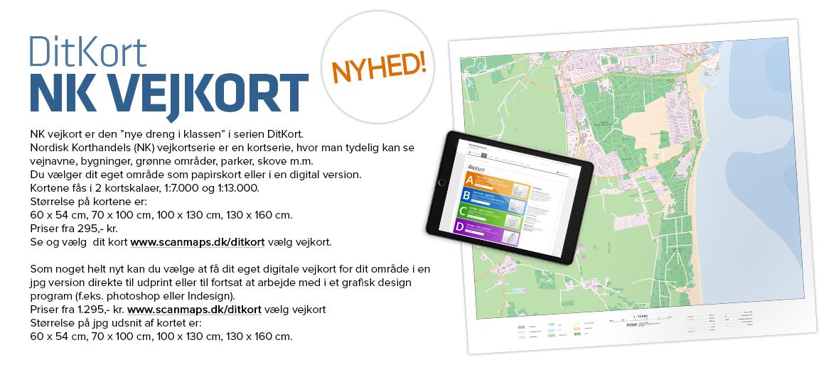 Nyheds fra Nordisk Korthandel, NK Vejkort, kort med vejnavne med eget centrum til DitKort